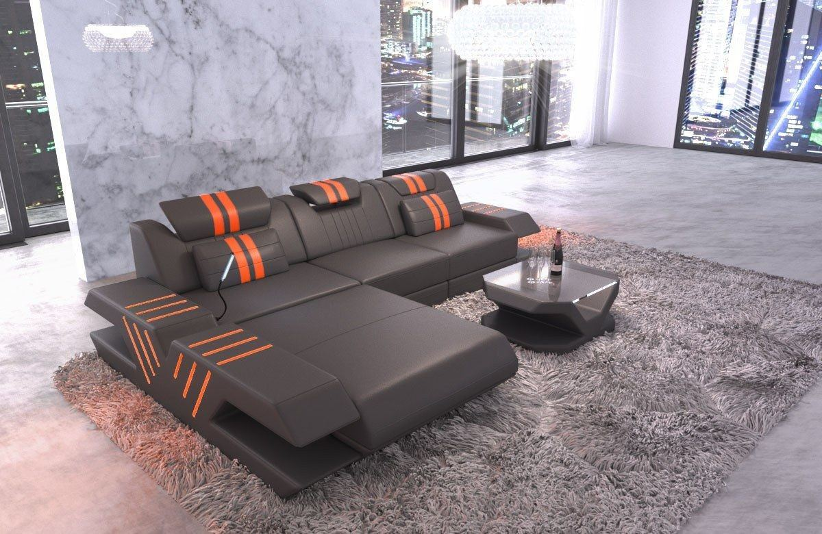 Ledersofa Venedig L Form grau-orange