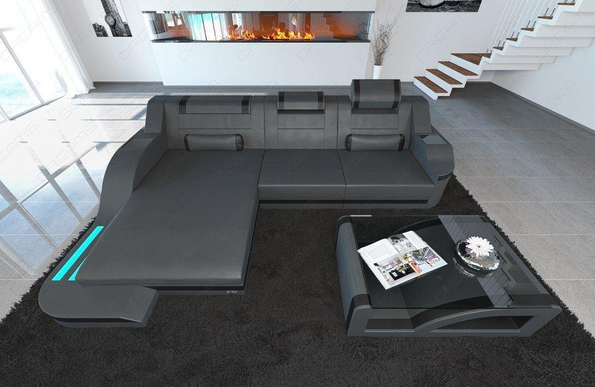 Ledercouch Palermo L-Form mit LED Beleuchtung in den Farben grau-schwarz
