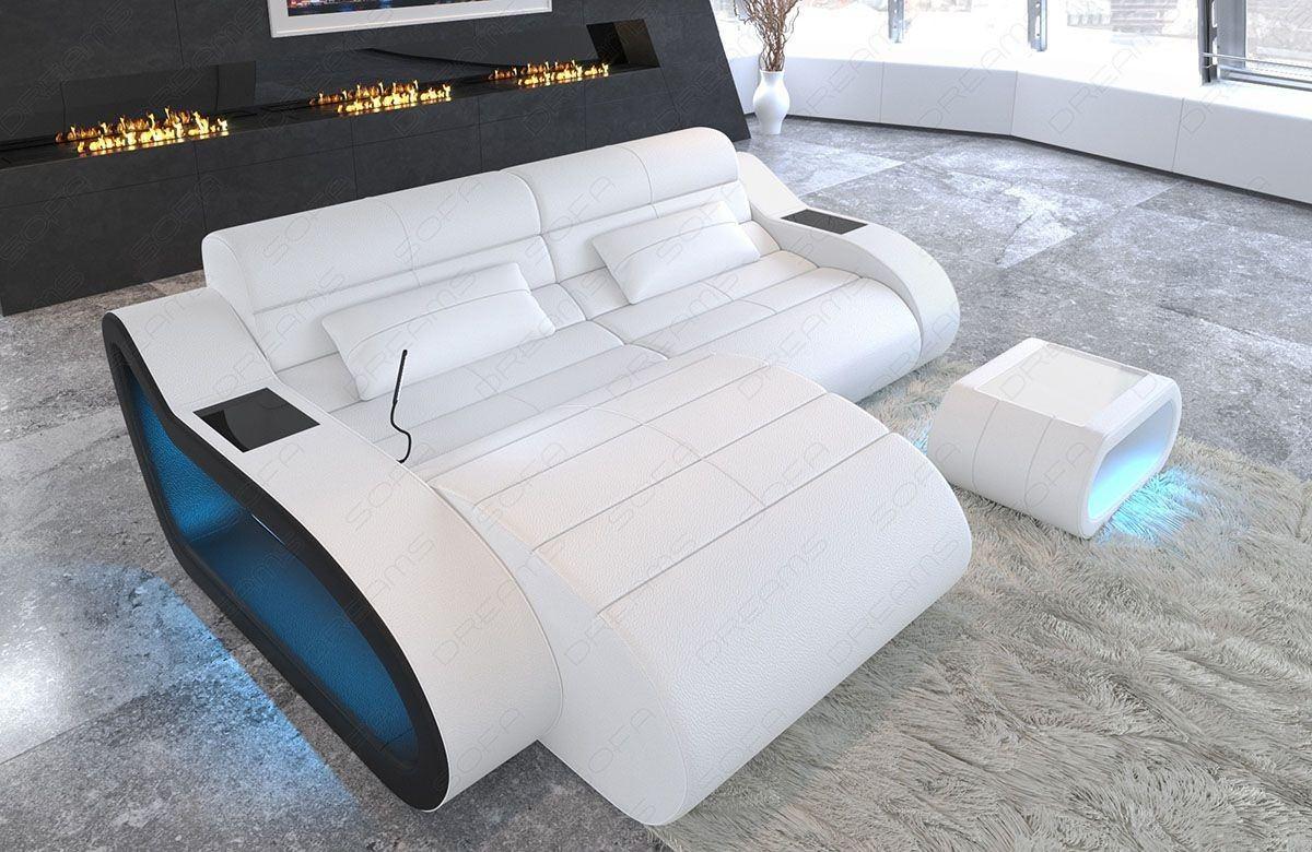 Sofa Couch München exklusive Design Eckcouch mit USB Anschluss in weiss - schwarz