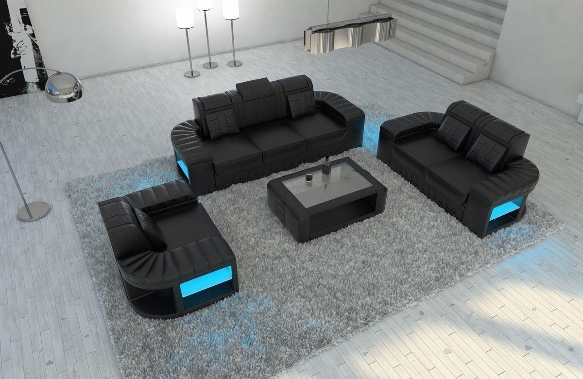 Sofa Garnitur 321 Bellagio Leder schwarz-schwarz