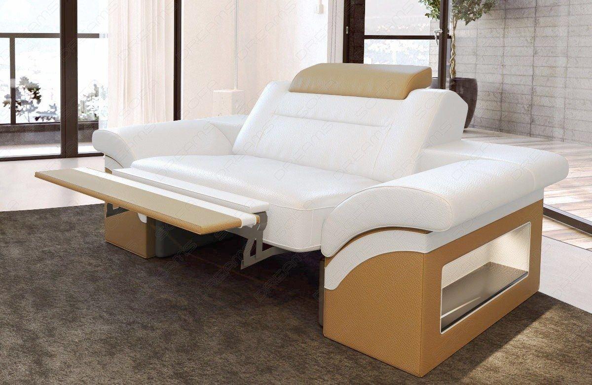 Leder Sessel Monza Weiß-Sandbeige