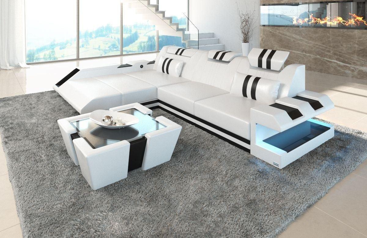 couch apollonia als ledersofa l form in weiss und schwarz. Black Bedroom Furniture Sets. Home Design Ideas