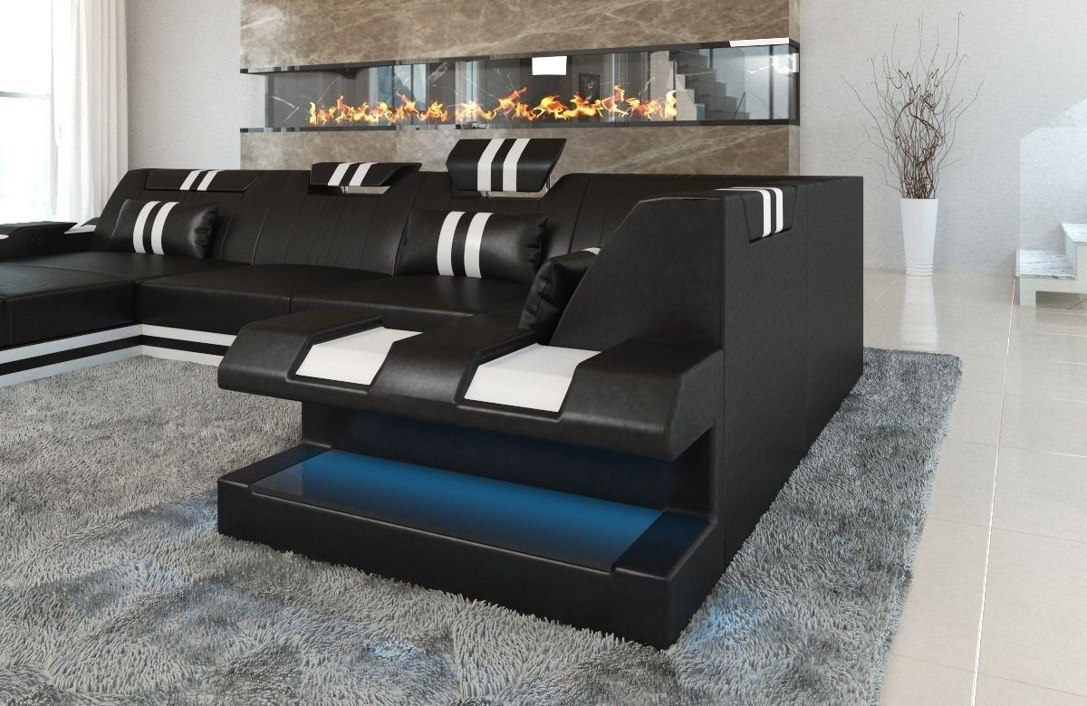 Sofa Wohnlandschaft Apollonia U Form schwarz-weiss