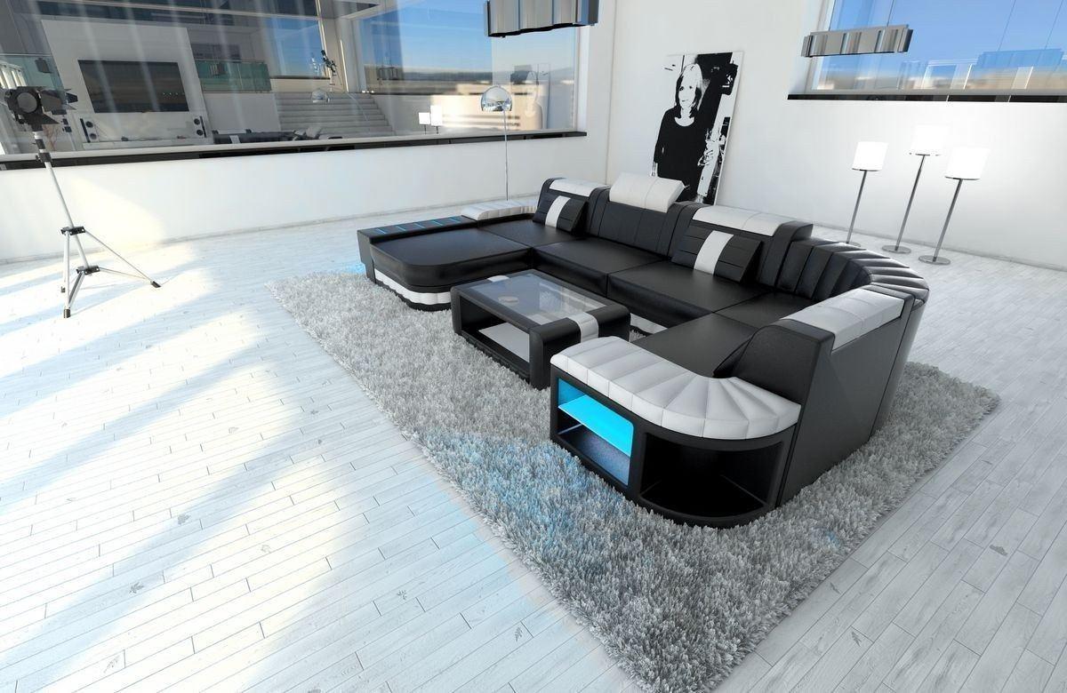 Sofa Wohnlandschaft Bellagio U Form schwarz-weiss