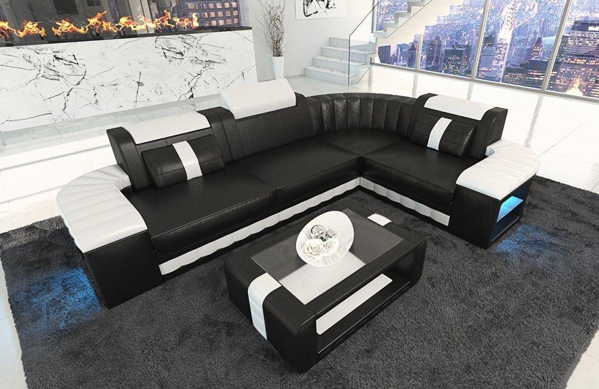 ledersofa bergamo als l form ecksofa in den farben schwarz weiss. Black Bedroom Furniture Sets. Home Design Ideas