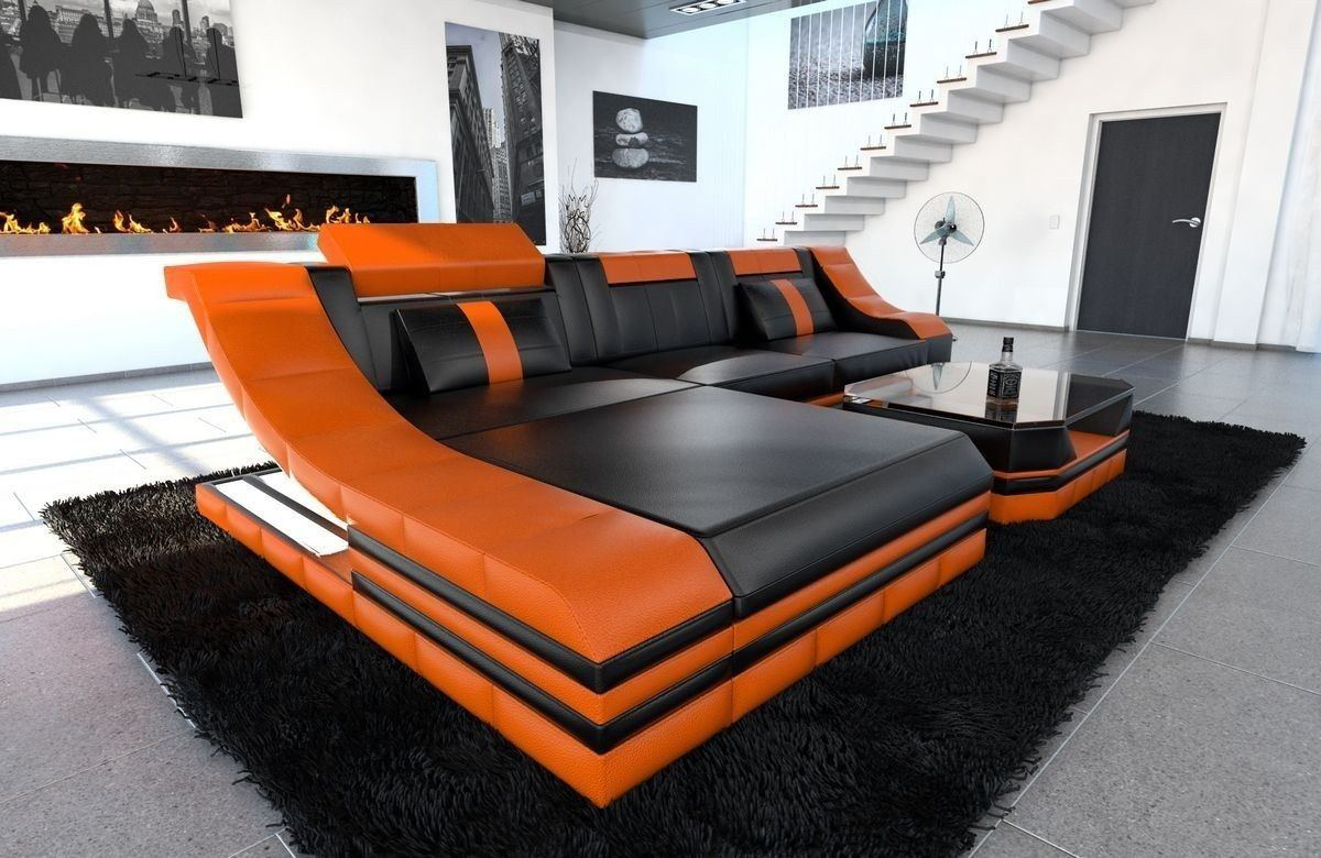 Couch Turino Leder L Form schwarz-orange