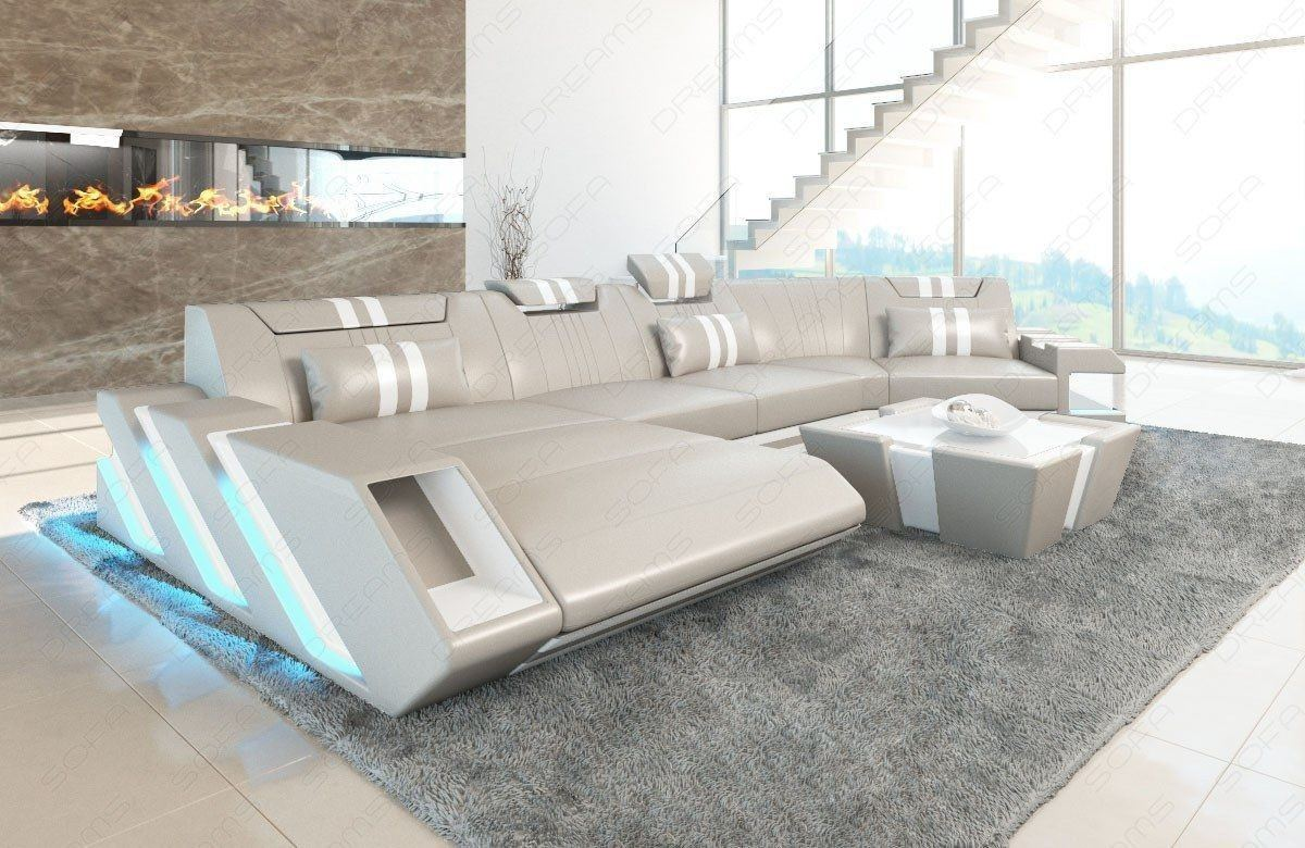 Ledercouch Apollonia U Form mit LED - beige-weiss