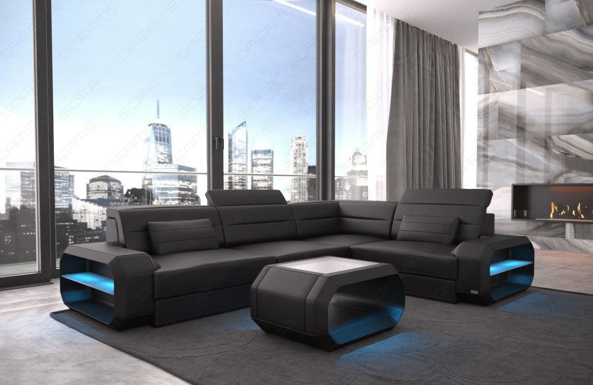 ledercouch verona in l form auch mit schlaffunktion und led. Black Bedroom Furniture Sets. Home Design Ideas