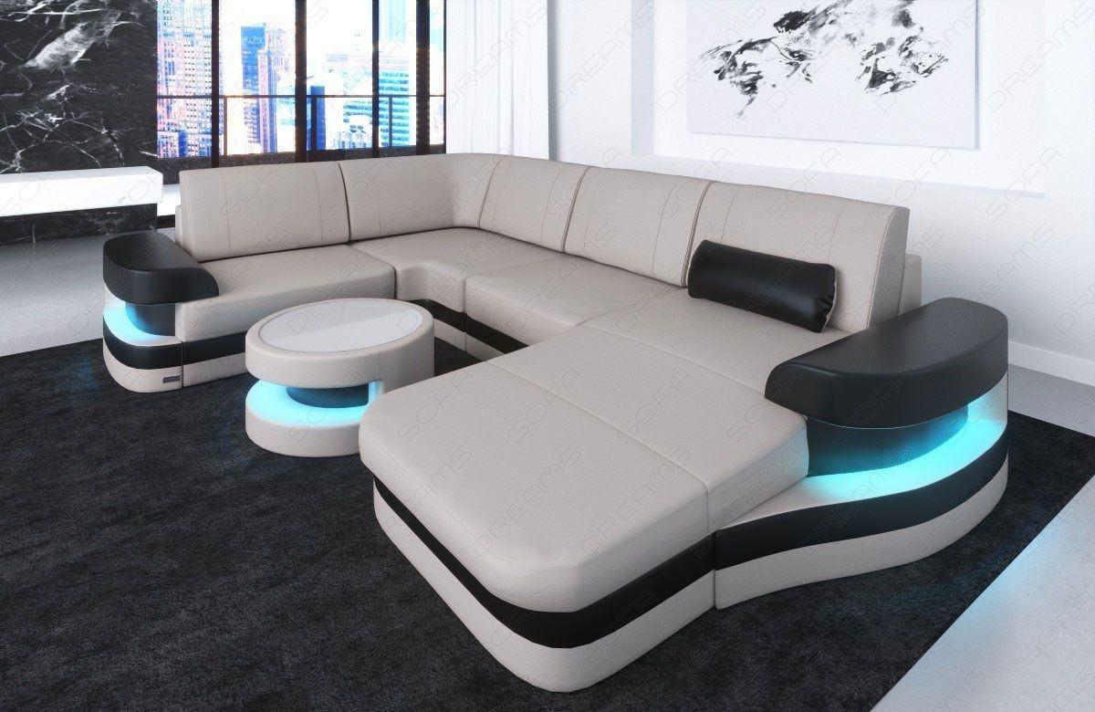 Couch Wohnlandschaft Modena U Form mit LED - beige-weiss