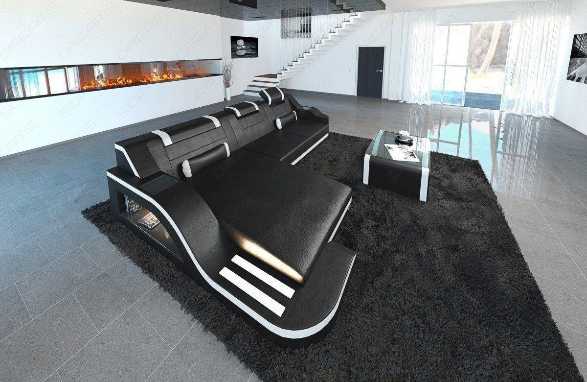 Ledersofa PALERMO L-Form mit LED Beleuchtung in den Farben schwarz-weiss