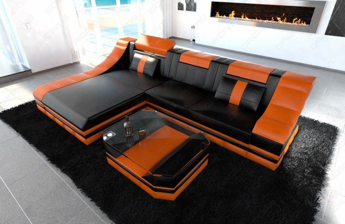 Ledersofa Turino in schwarz-orange