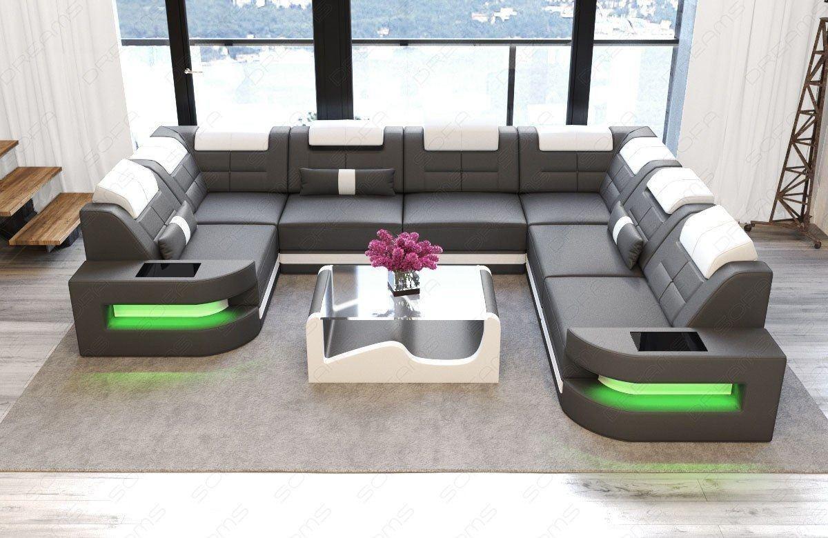 Sofa Wohnlandschaft Como Leder U Form grau-weiss
