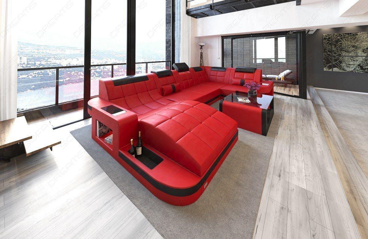 Designer Wohnlandschaft Wave mit Beleuchtung als rot-schwarz Variante