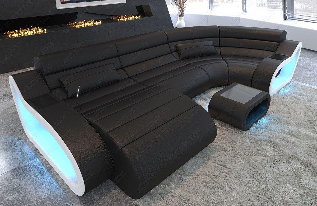 Sofa Couch München in Leder mit LED Beleuchtung in schwarz - weiss