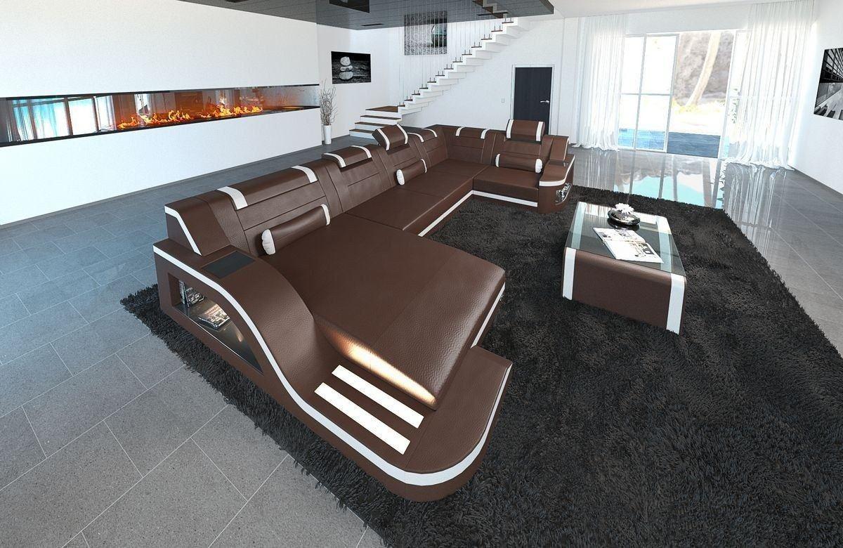 Sofa Wohnlandschaft Leder Palermo U Form dunkelbraun-weiss