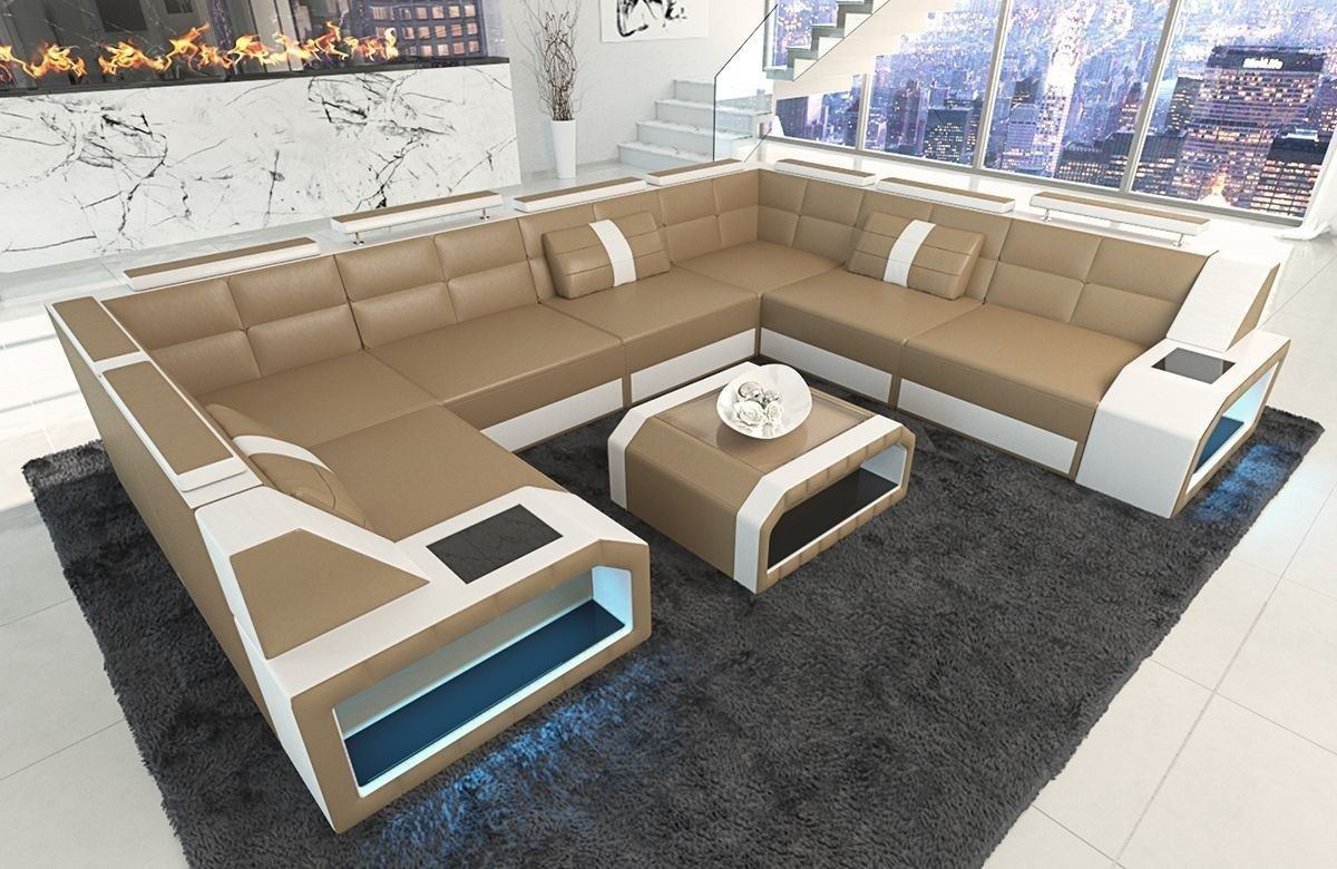 sofa wohnlandschaft pesaro in leder als u form sandbeige. Black Bedroom Furniture Sets. Home Design Ideas