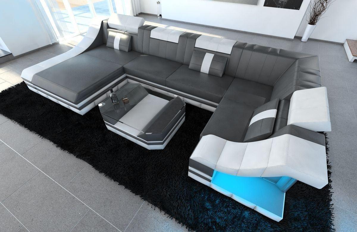 Sofa Wohnlandschaft Leder Turino U Form grau-weiss