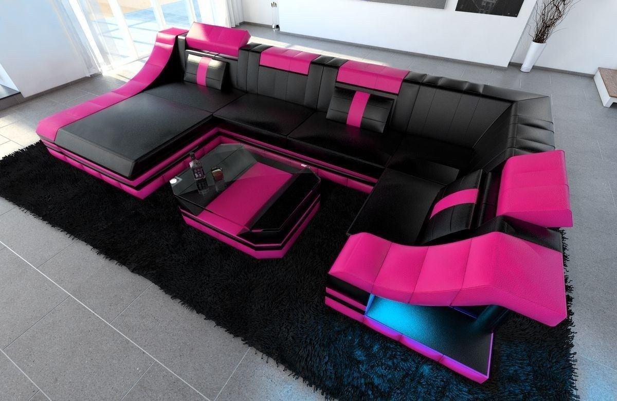 Sofa Wohnlandschaft Leder Turino U Form schwarz-pink