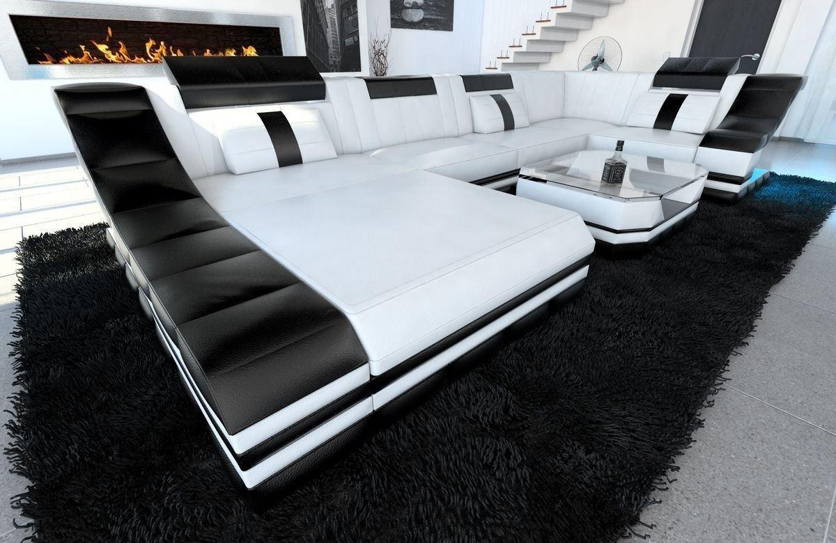 Sofa Wohnlandschaft Leder Turino U Form weiss-schwarz
