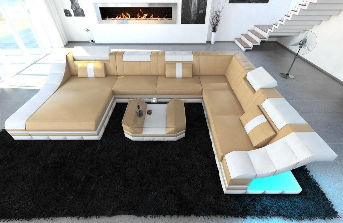 xxl wohnlandschaft turino in echleder kunstleder mix beige weiss. Black Bedroom Furniture Sets. Home Design Ideas