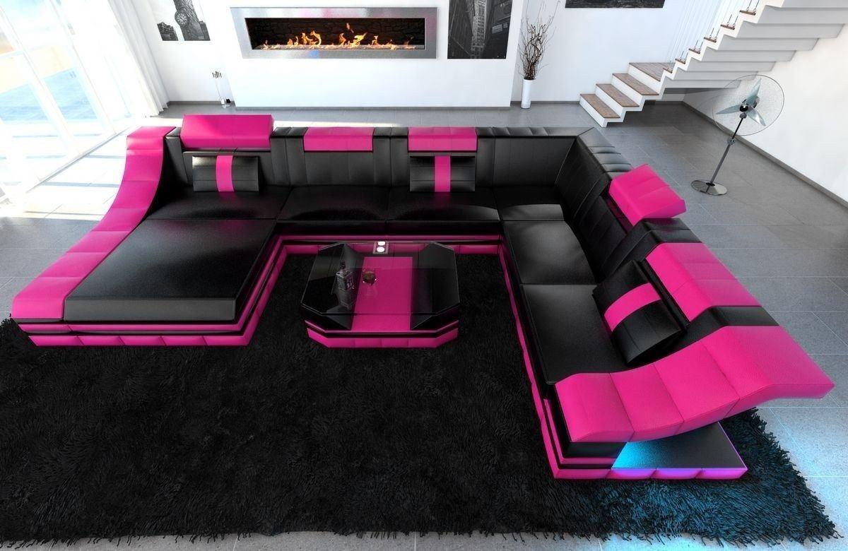 XXL Wohnlandschaft Turino Leder schwarz-pink