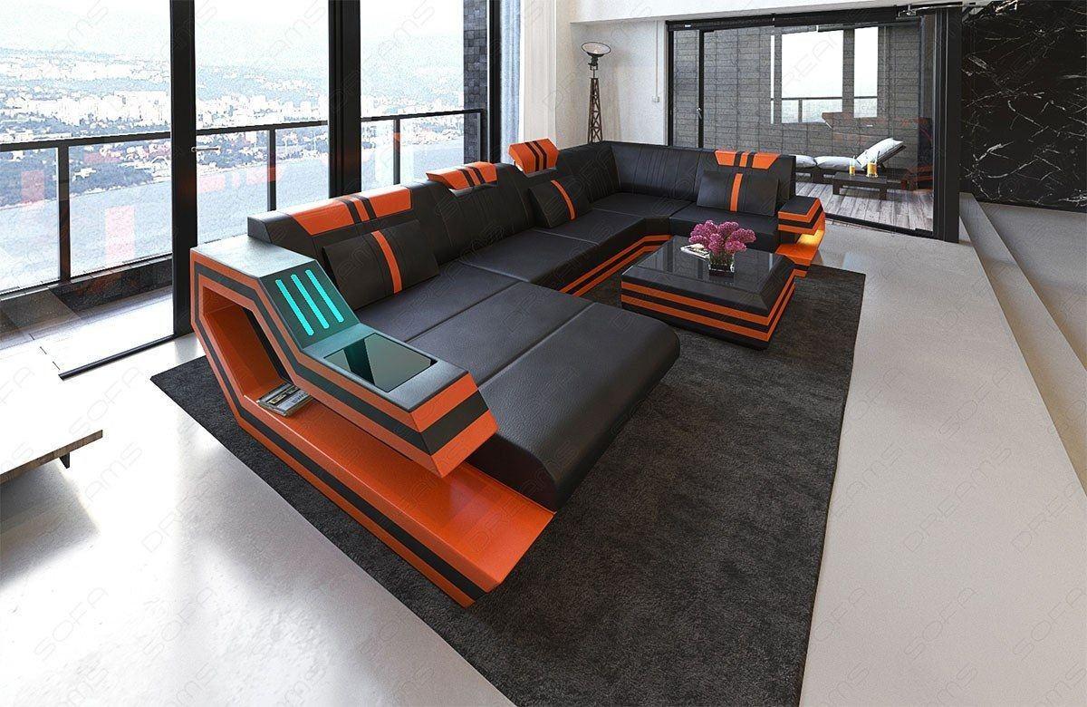 Moderne Wohnlandschaft RavennaU Form LED in schwarz-orange