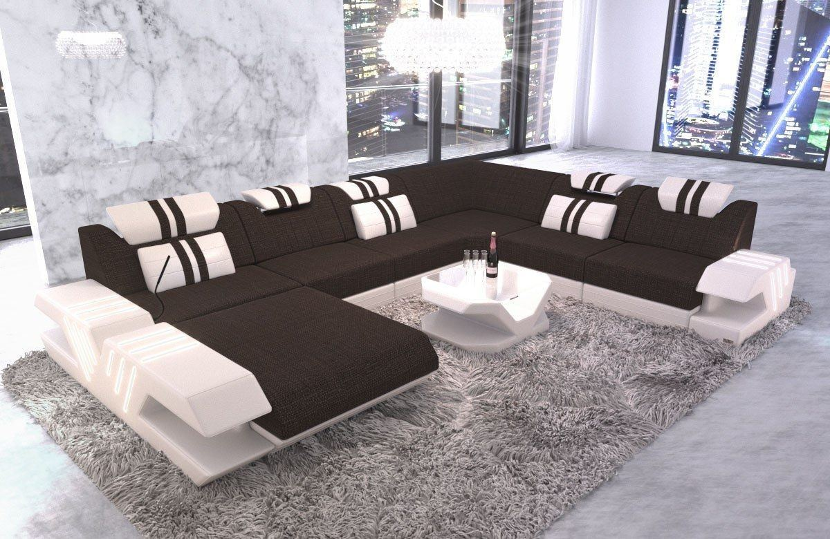 Stoff Couch U Form Venedig XXL Ottomane Beleuchtung Webstoff braun - Hugo 9