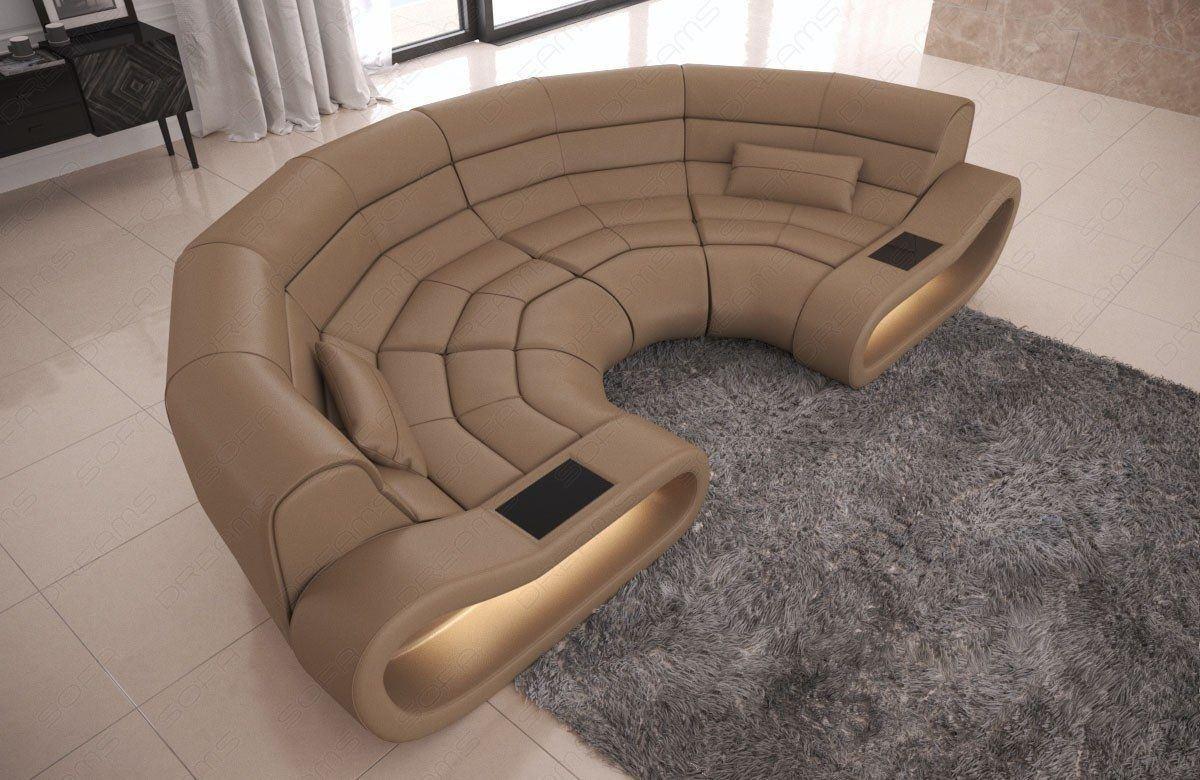 Big Sofa Concept Leder sandbeige