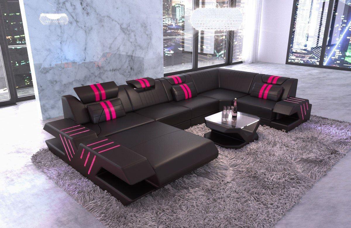 Designer Sofa Venedig U Form mit Recamiere und LED Beleuchtung - schwarz-pink