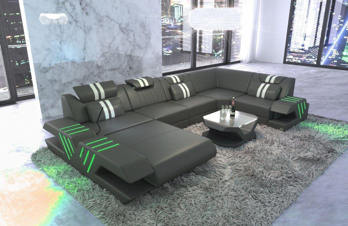 Leder Wohnlandschaft Venedig U Form mit LED Beleuchtung - grau-weiss