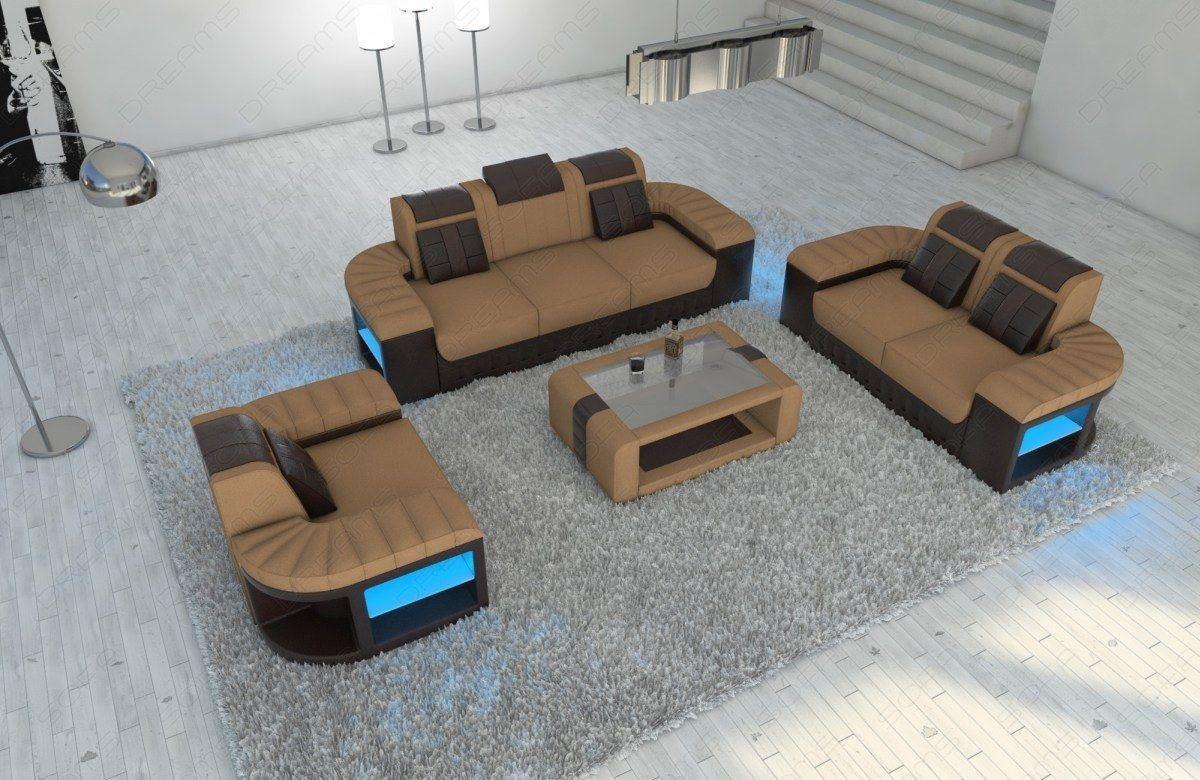 Polster Sitzgruppe Bellagio 321 braun + LED Beleuchtung - Mineva 6