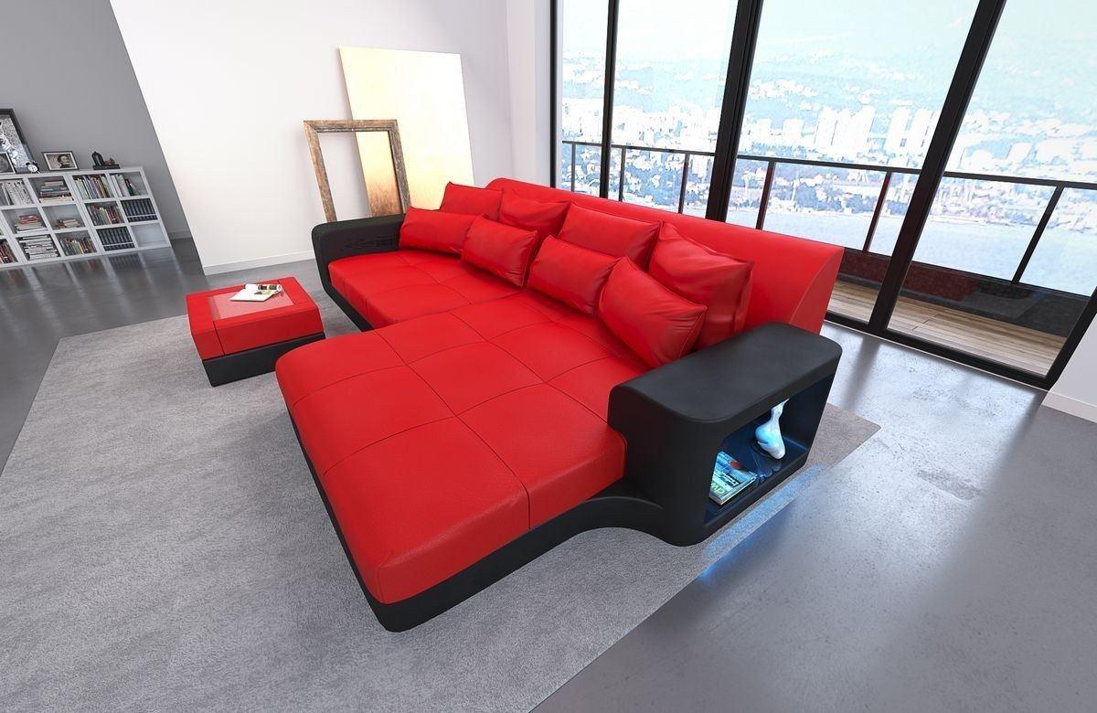Leder Bigsofa Milano Rot-Schwarz
