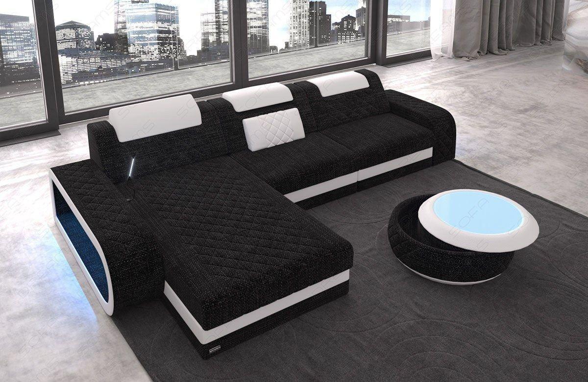 Stoff Couch Berlin mit elder Steppung und LED Beleuchtung - dunkelgrau Hugo 13