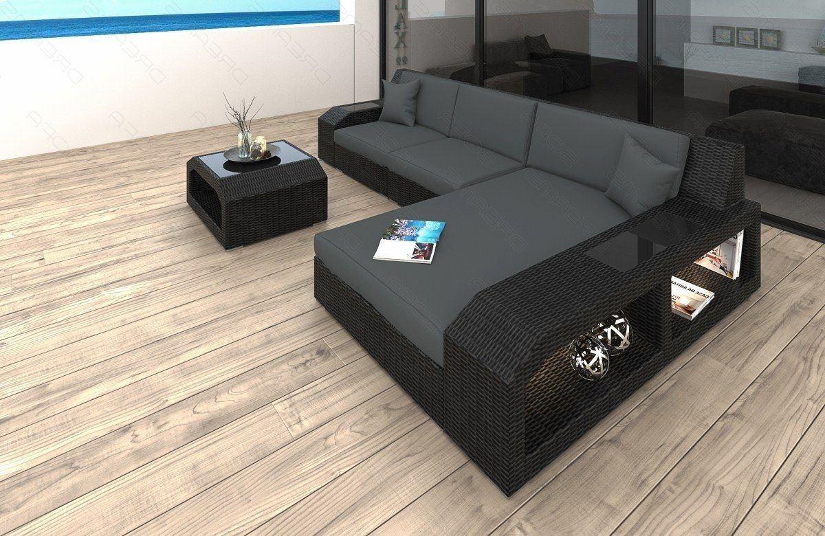 Rattan Sofa Lounge Set Matera L-Form - Auflagen grau
