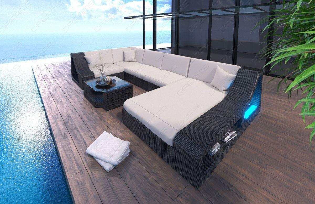 Rattansofa Lounge Set TURINO U-Form LED - beige