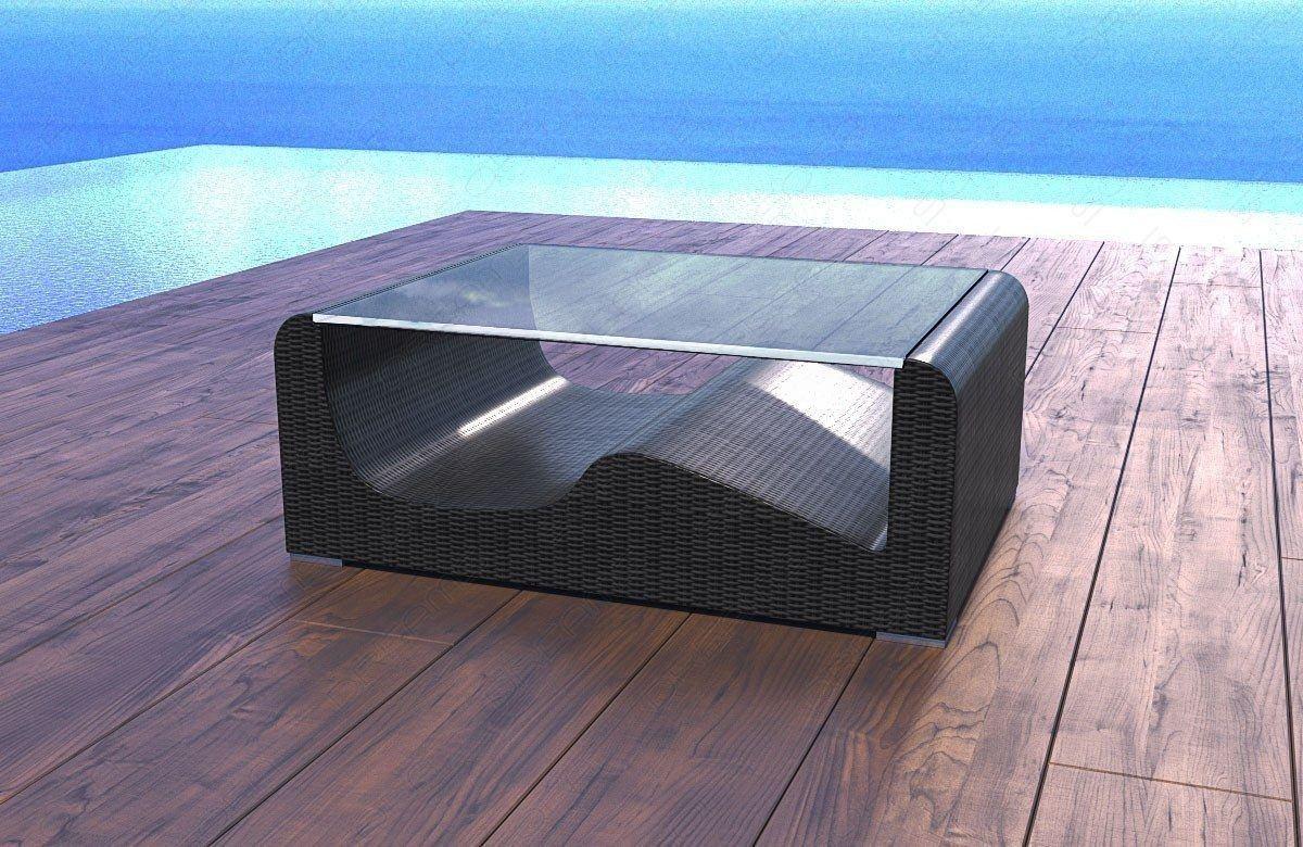 Rattantisch mit Glasplatte Wave