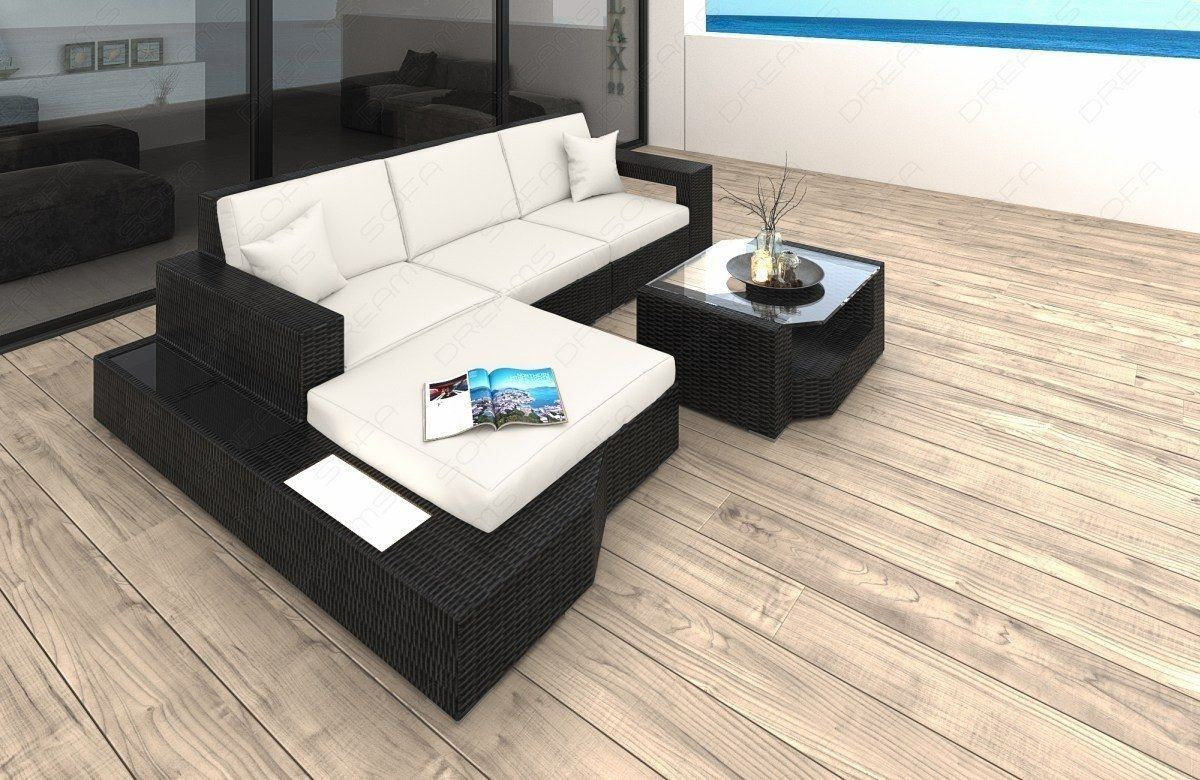 Rattan Sofa Lounge MESSANA L-Form LED- Auflagen creme