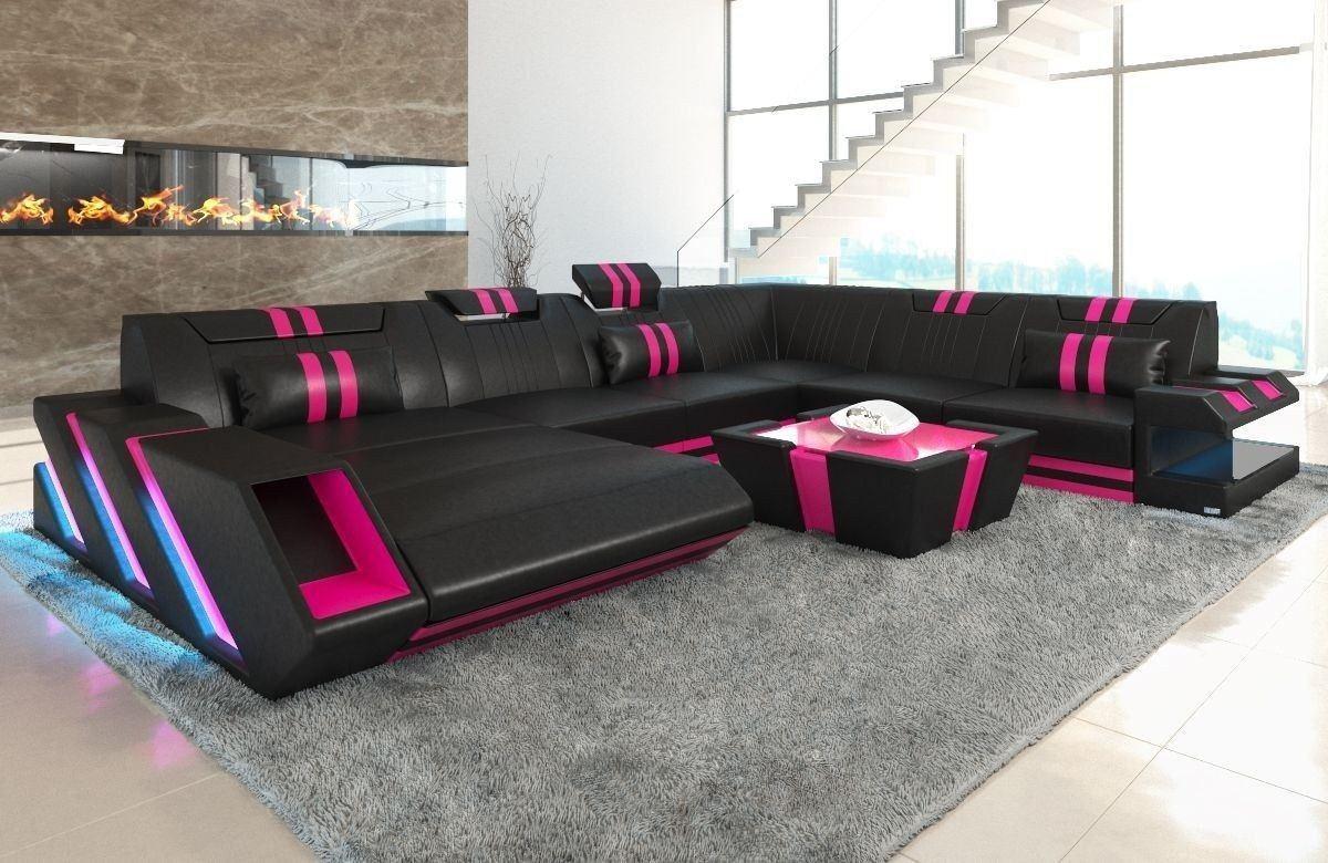 XXL Wohnlandschaft Apollonia schwarz-pink