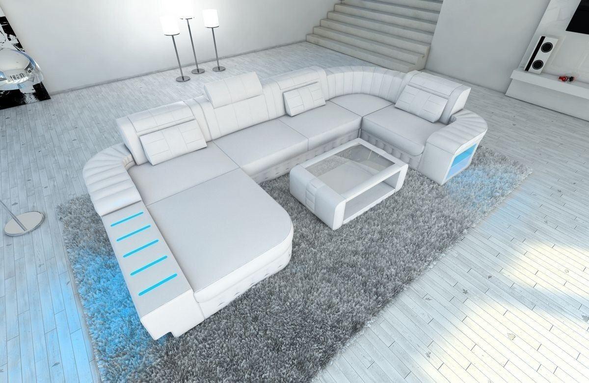 Sofa Wohnlandschaft Bellagio U Form weiss-weiss