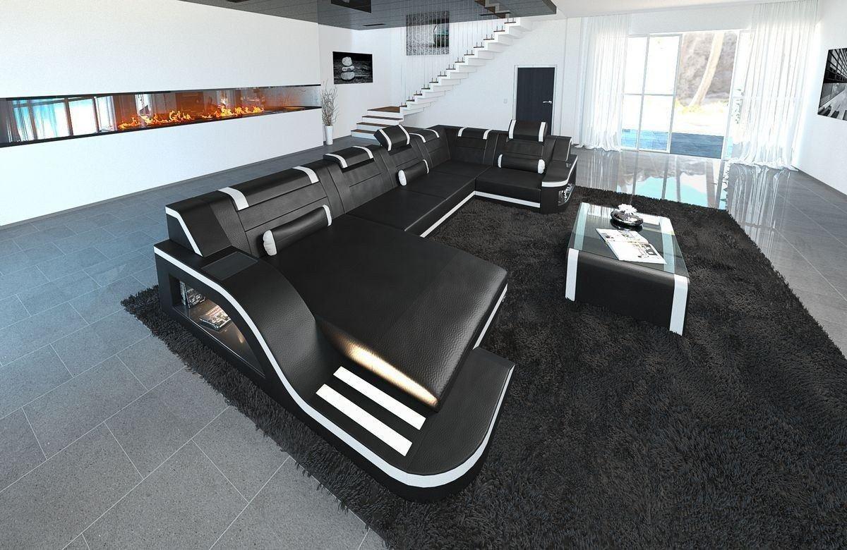 Sofa Wohnlandschaft Leder Palermo U Form schwarz-weiss