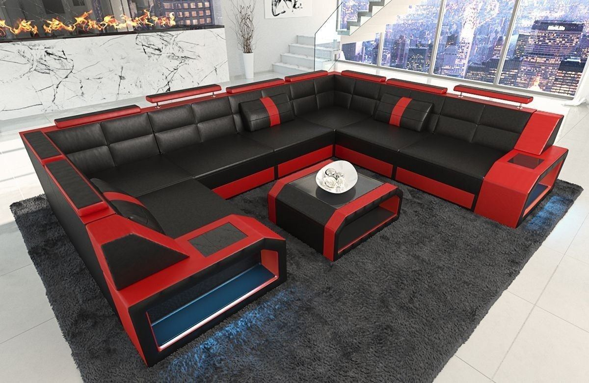 Sofa Wohnlandschaft Leder Pesaro U Form schwarz-rot