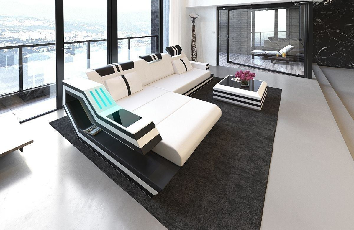 Sofa Ravenna Leder L Form weiss-schwarz