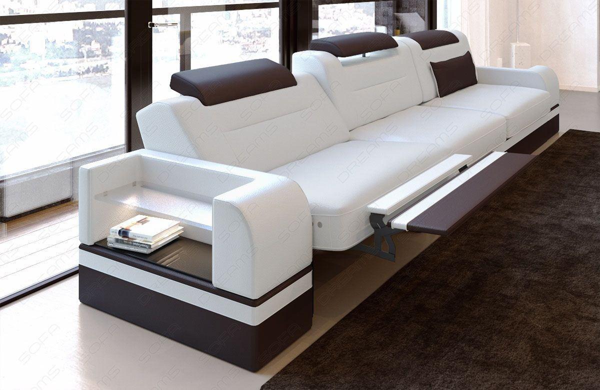 3 Sitzer Couch Echtleder Parma mit LED Beleuchtung - weiss-dunkelbraun