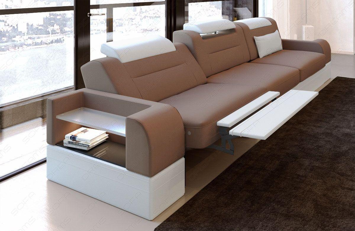 3 Sitzer Couch Sofa Parma mit elektrischer Relaxfunktion cappuccino Mineva 21