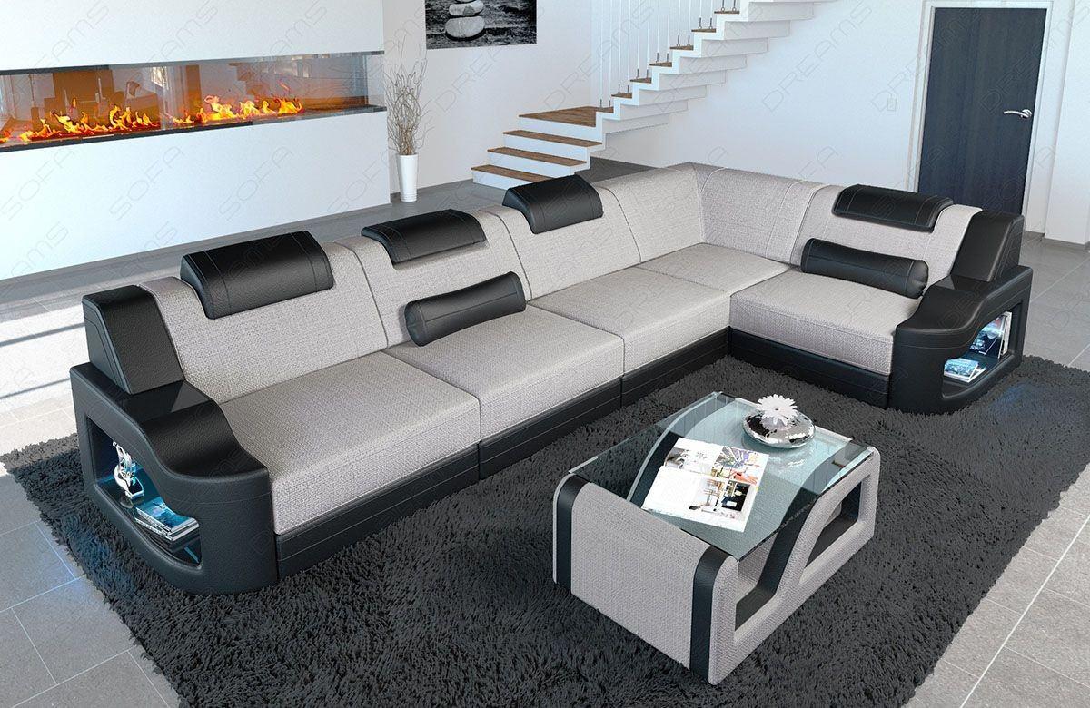 Stoff Sofa Padua L mit LED Beleuchtung in Stukturstoff Hugo 2 - macchiato