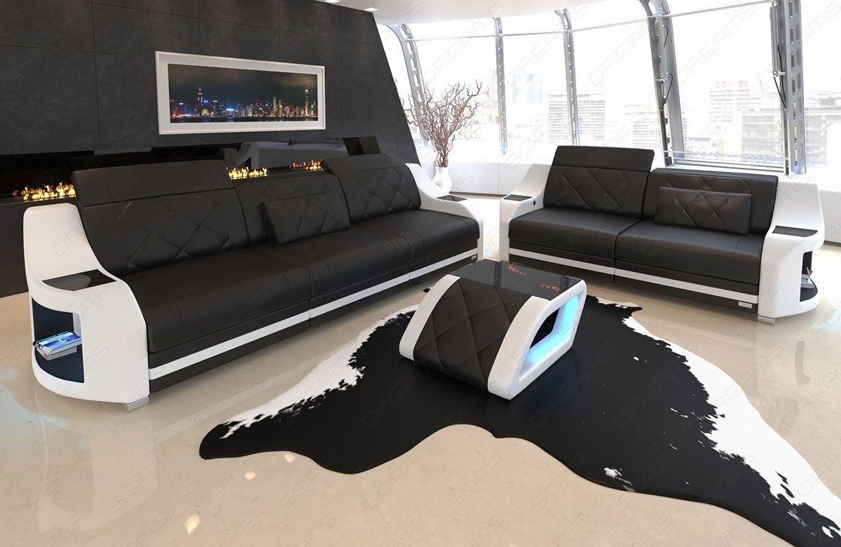 Sofa Garnitur Swing mit LED Beleuchtung in Leder schwarz - weiss