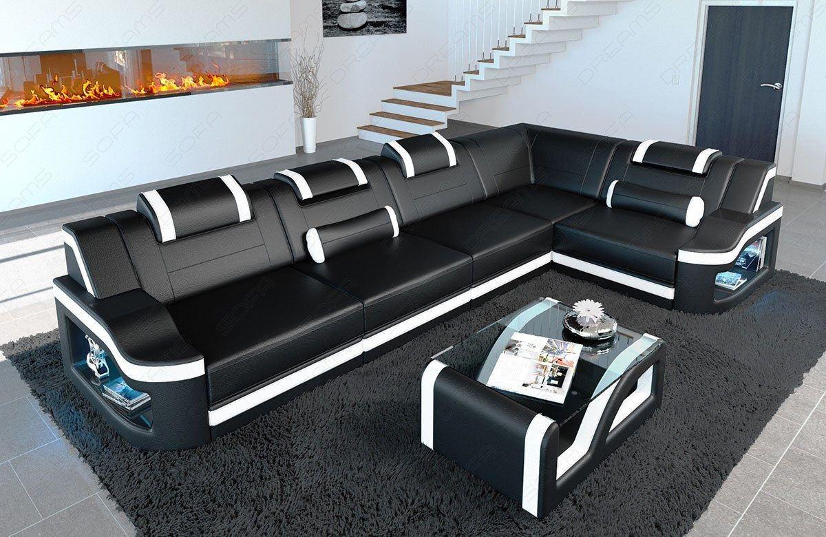 Luxus Couch Ecksofa Padua mit LED Beleuchtung in schwarz - weiss