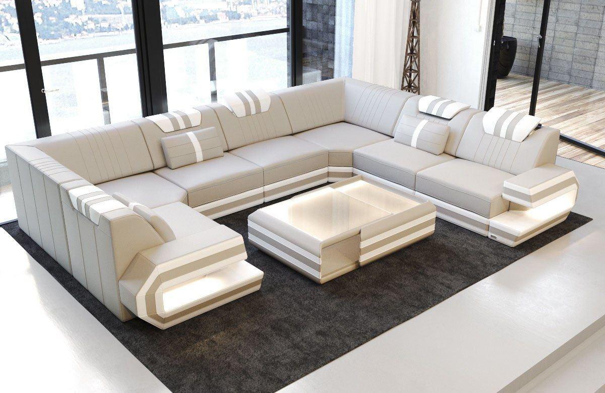 Luxus Sofa Ragusa Leder Eckcouch mit LED - beige-weiss