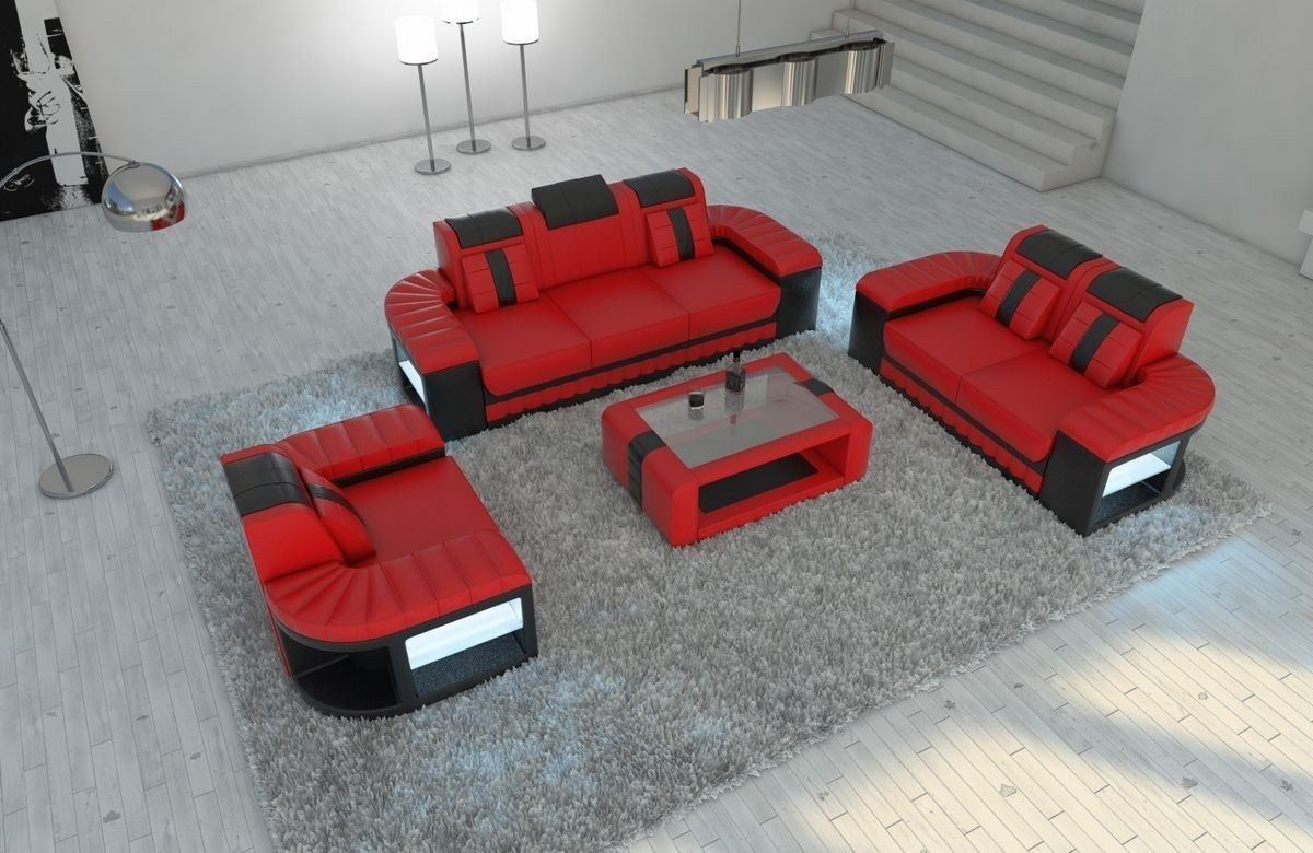 Sofa Garnitur 321 Bellagio Leder rot-schwarz