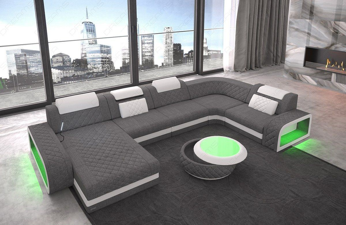 Stoff Sofa Couch Berlin U Form mit Ottomane und LED Beleuchtung in grau - Hugo 5